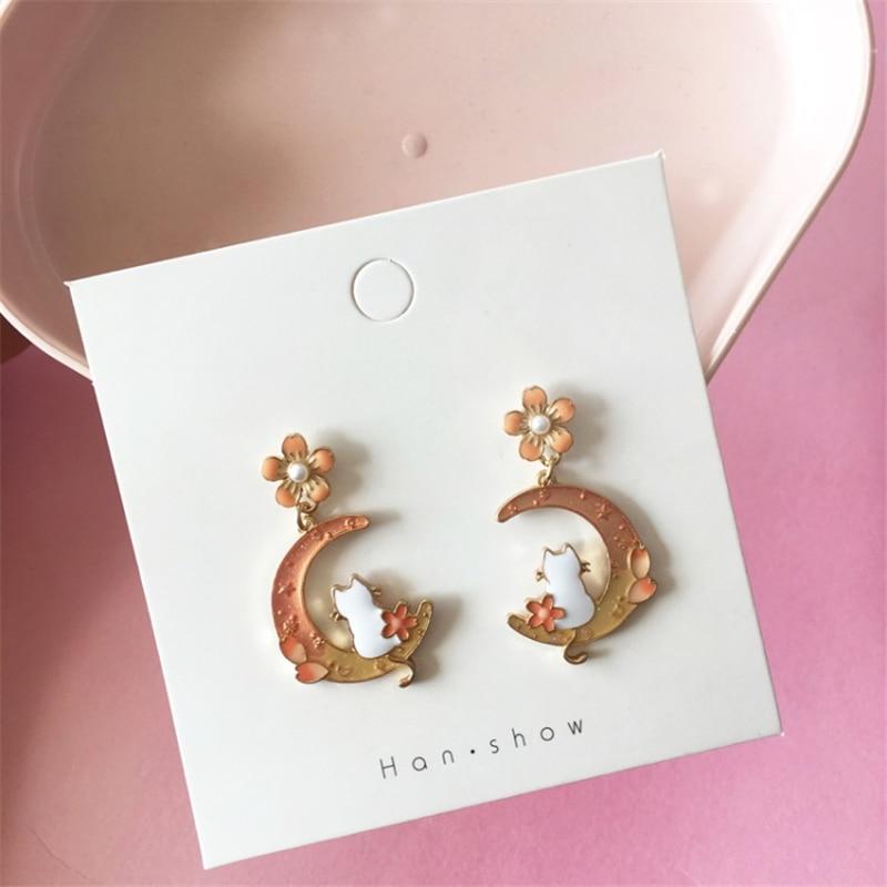 Kawaii Cat Moon Sakura Earrings – Limited Edition