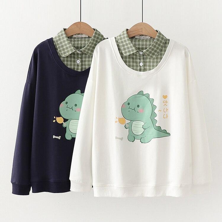 Kawaii Dinosaur Autumn Style Collar Sweater