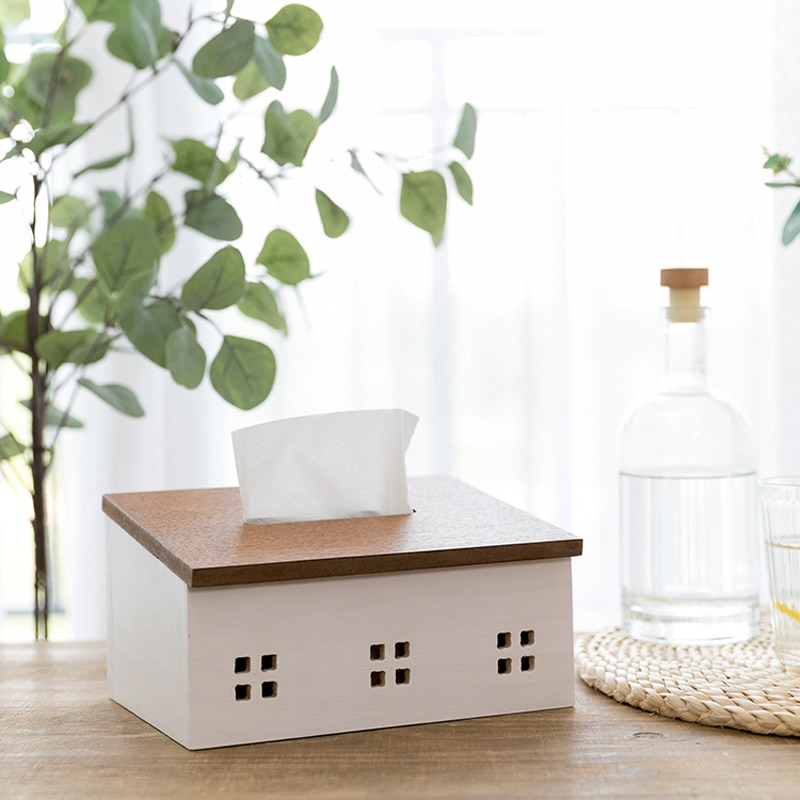 Kawaii Nordic Style Wood Tissue Box