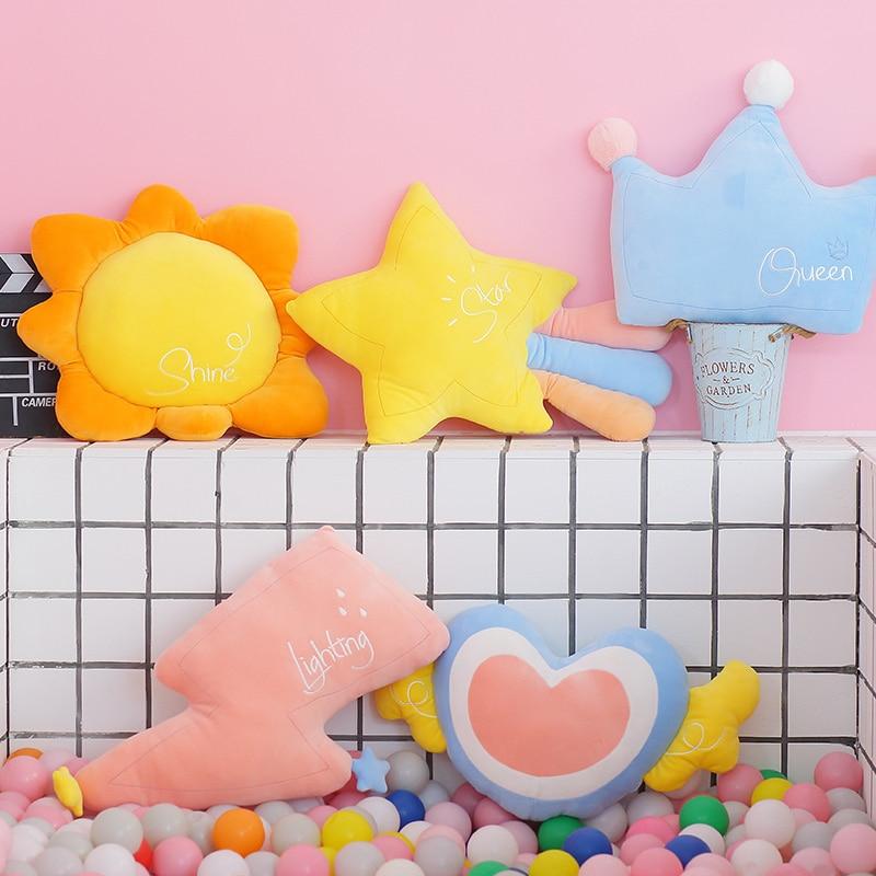 Kawaii Sun Star Crown Soft Plush Cushion