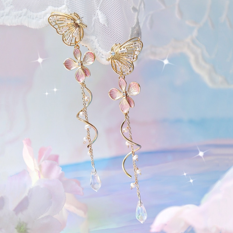 Kawaii Butterfly Cherry Blossom Earrings – Limited Edition