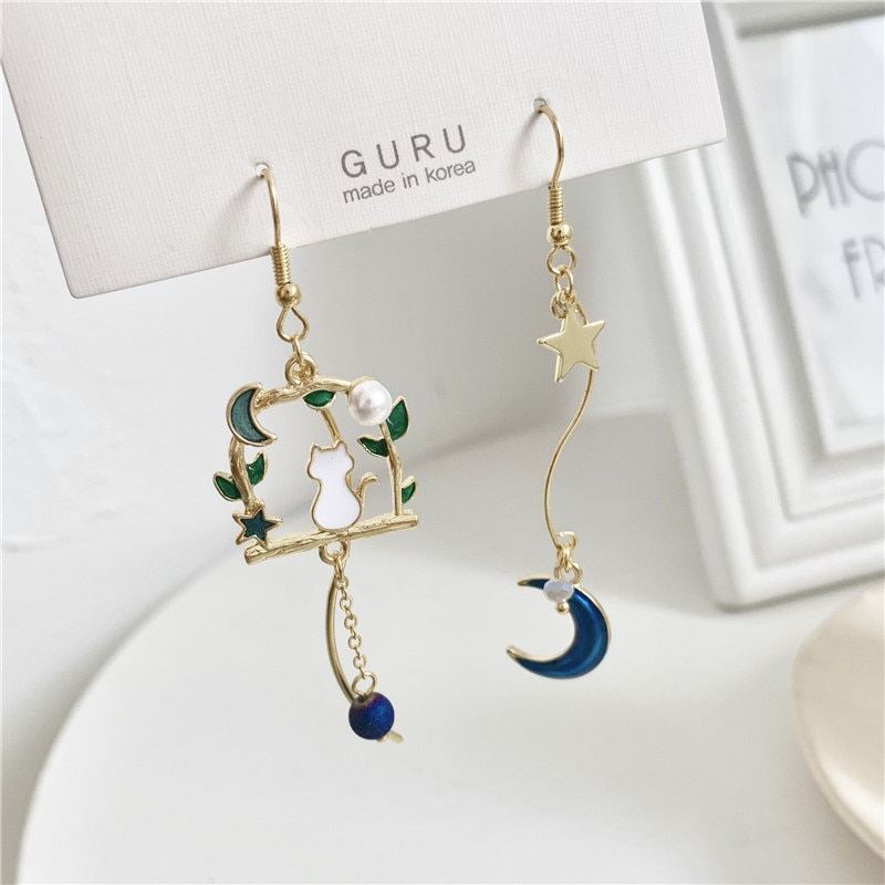 Kawaii Starry Moon Crescent Cat Earrings – Limited Edition