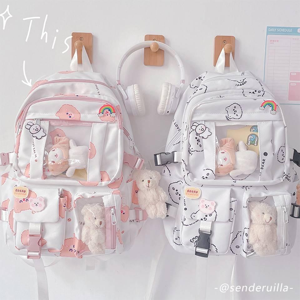 Kawaii Bear Harajuku Canvas Backpack – Limited Edition