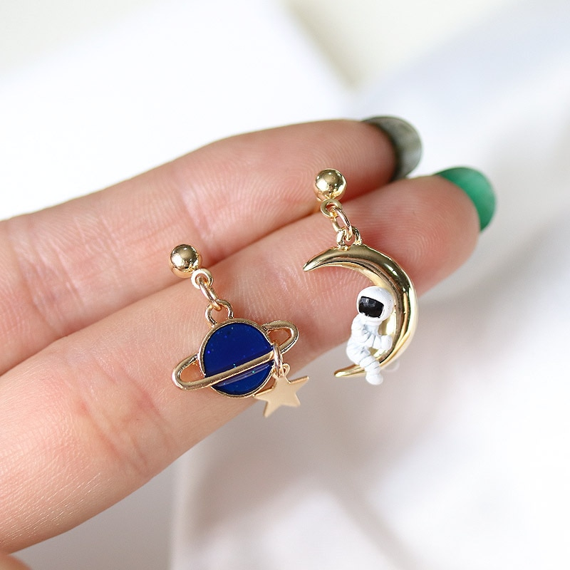 Kawaii Space Astronaut Moon Earrings – Limited Edition