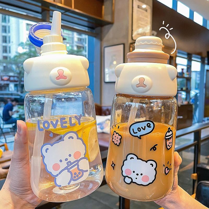 Kawaii Bear Style Straw Bottle (1200ml)