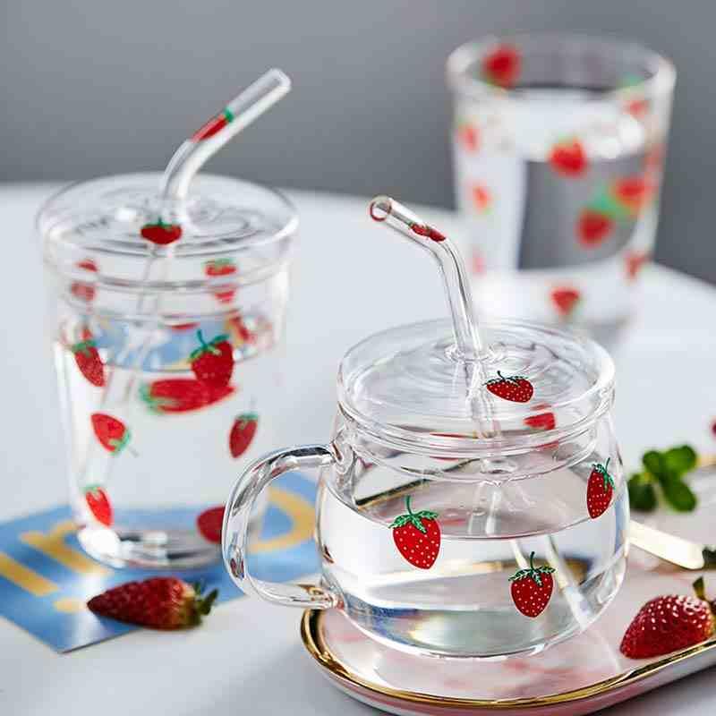 Kawaii Glass Strawberry Juice Cup – Limited Edition