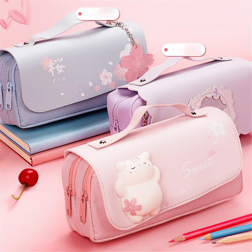 Kawaii Sakura Cat Macaron Pencil Case – Limited Edition